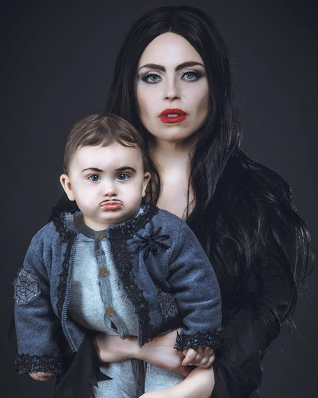 Halloween Photo Shoot As Morticia Addams And Pubert