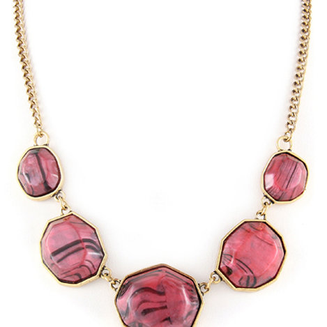 NECKLACE N 350075 GLD RED