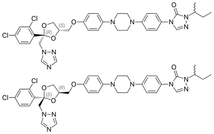 Itraconazole is a chiral drug consisting of two diastereoisomeric racemates, i.e., four stereoisomers.