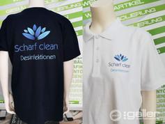 Textildruck Polo T-Shirt Scharf Clean