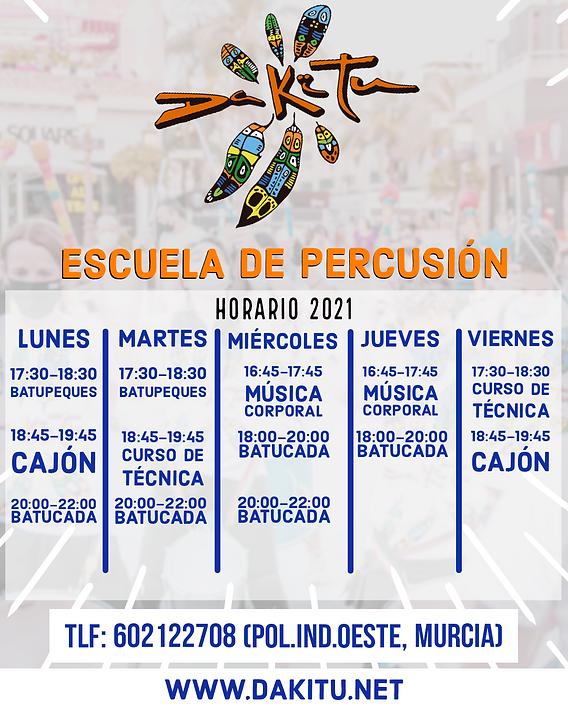 Calendario de clases (Escuela de percusi