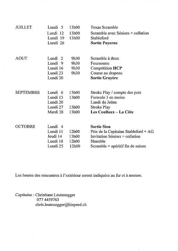 calendrier Ladies juillet à octobre 2021