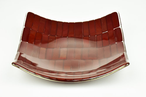 Medium square glass serving plate, deep red on clear