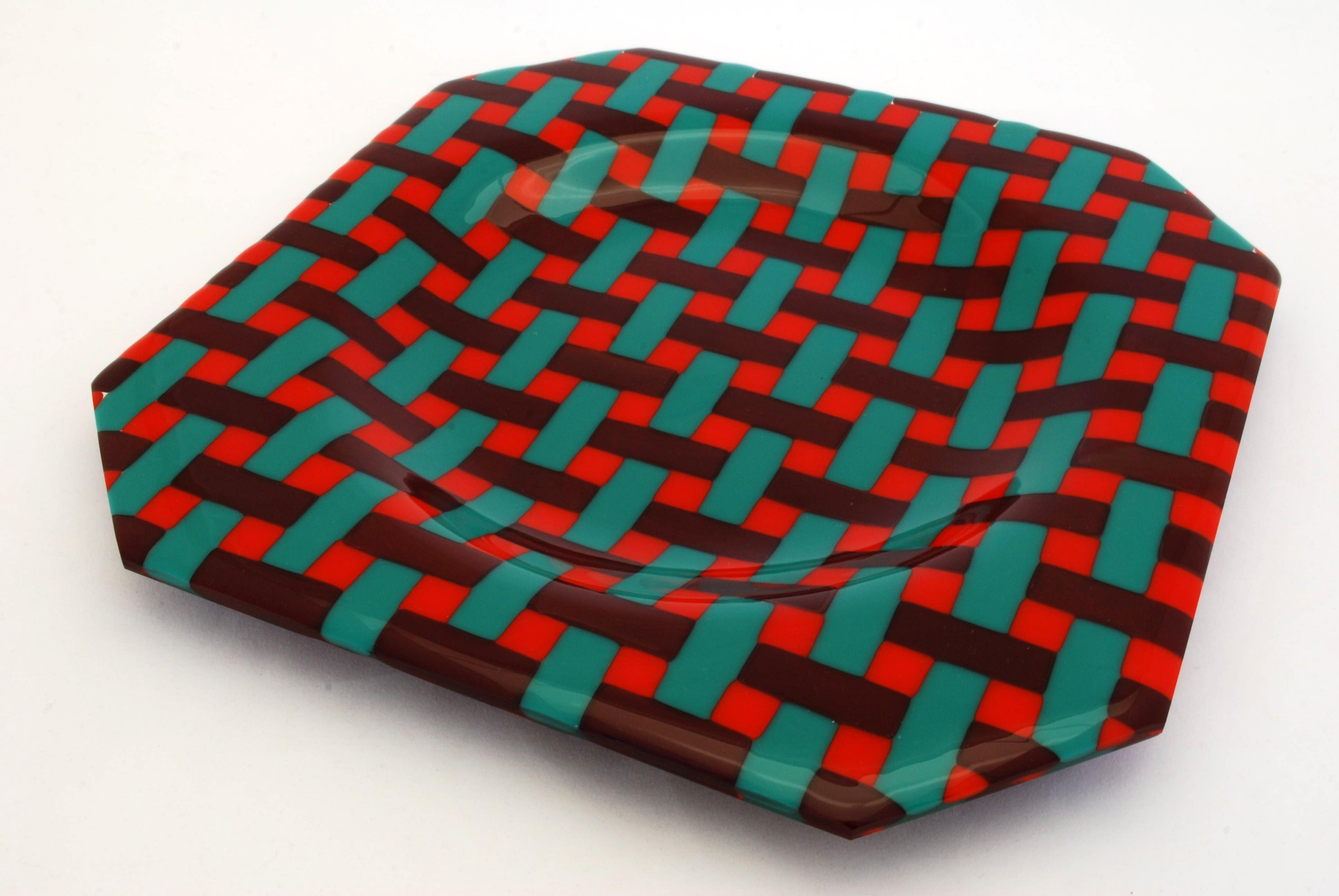 Plate, basket weave design