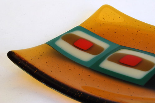 Plate, small glass plate, Retro Squares in amber