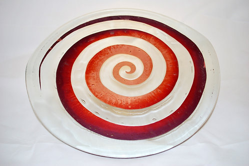 Platter, large glass platter with spiral copper inclusion