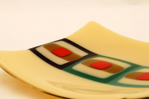 Plate, small glass plate, Retro Squares in marzipan
