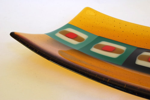 Plate, large rectangular glass plate, Retro Squares in amber