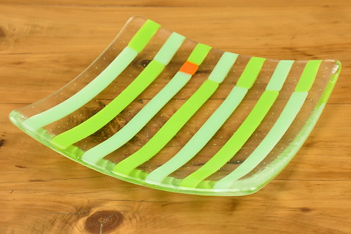 Plate, small glass plate, Stripes with Accent, green on green