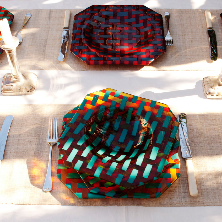 Basket weave dinner setting