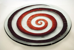 Platter with copper spiral inlay