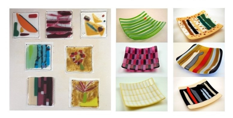 fused and slumped glass plates and coasters