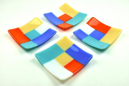 Plate set, four small square glass plates, Modernist design