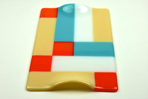 Cheese platter, large rectangular glass platter, Modernist design