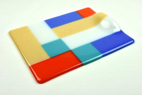 Cheese platter, medium rectangular glass platter, Modernist design
