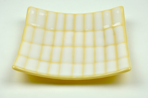 Small square serving plate or side plate, white on cream