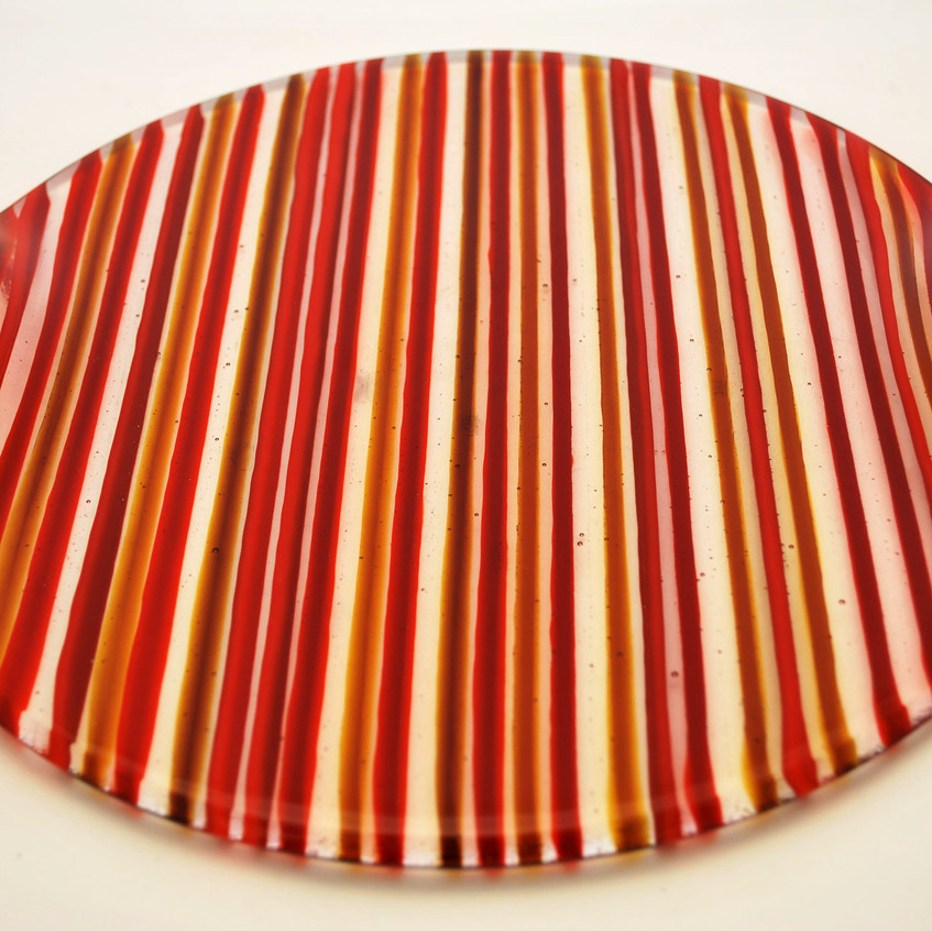 Striped glass platter