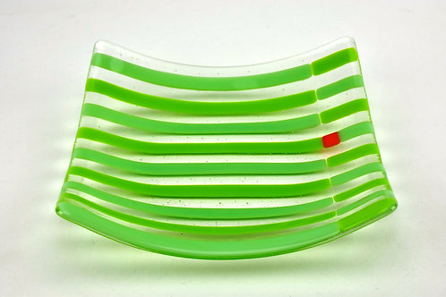 Plate, medium glass plate, Stripes with Accent, green on green