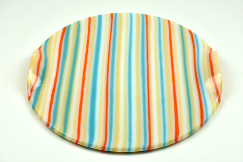 Platter, large round glass platter, Summer Days design