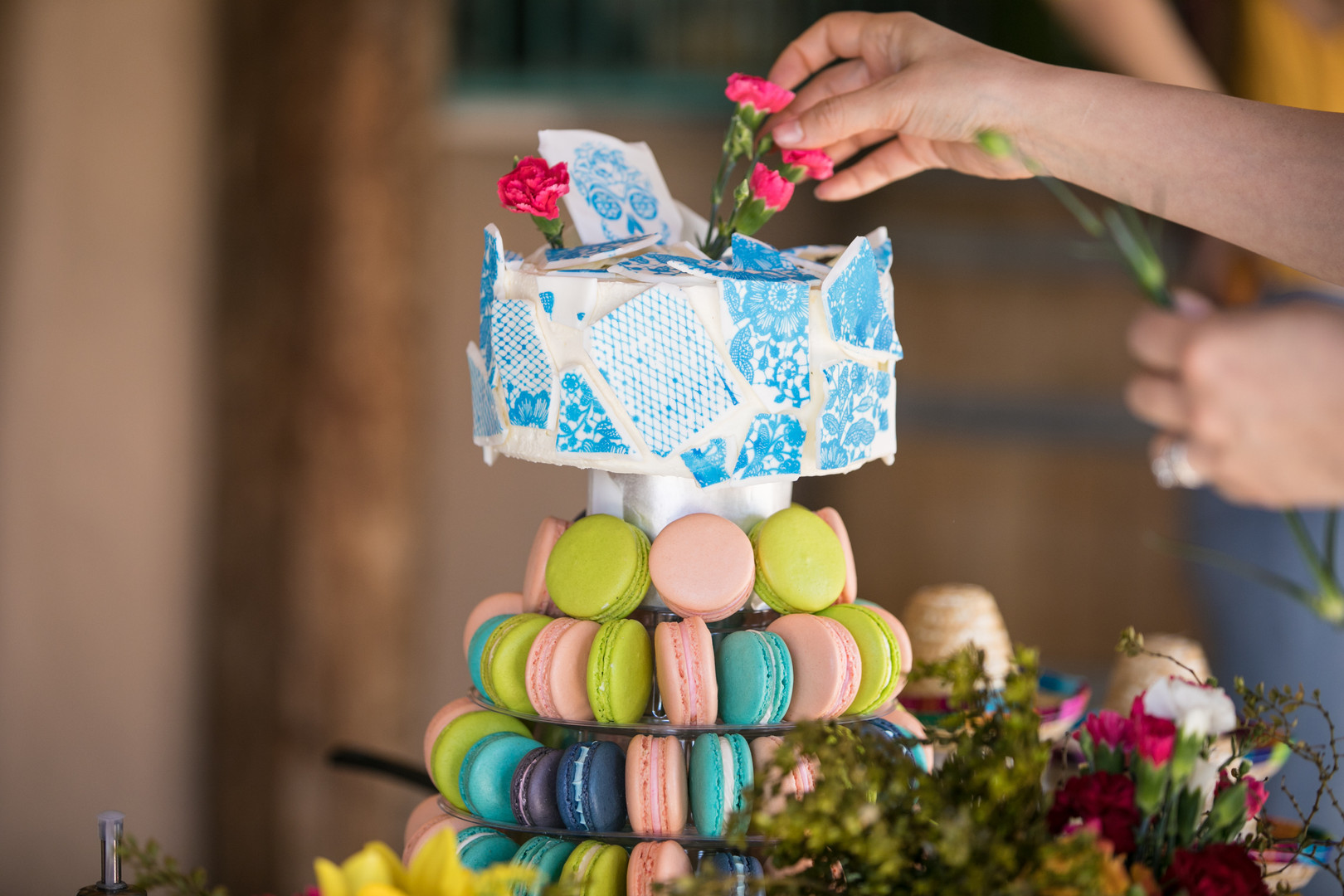 Broken Tile Cake with Macaron Tower Phot