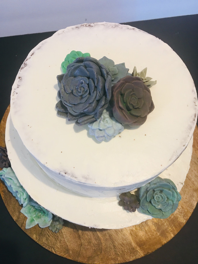 White chocolate suculent cake