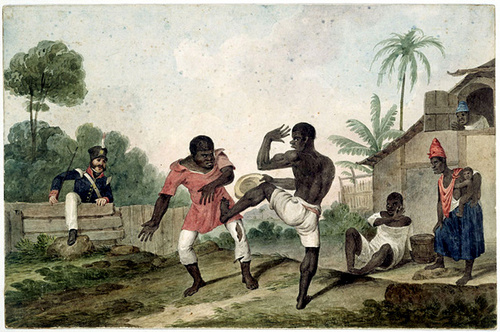Painting depicting Capoeira