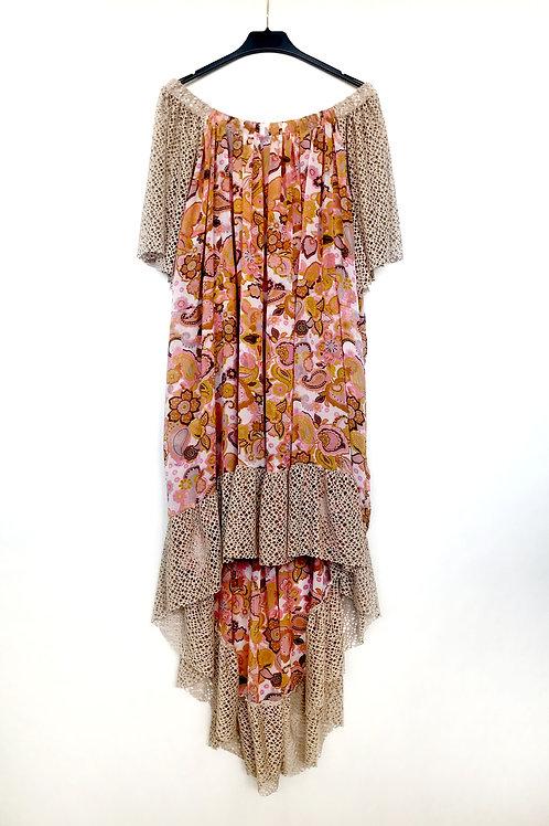 Vestido bambula rosa y tostado