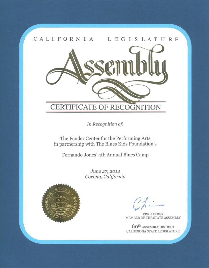 California Proclamation: BluesKids.com