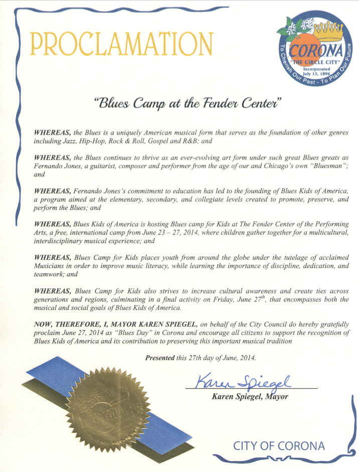 Corona, CA Proclamation: BluesKids.com