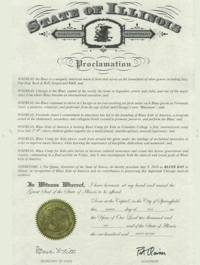 State of Illinois Proclamation: BluesKids.com