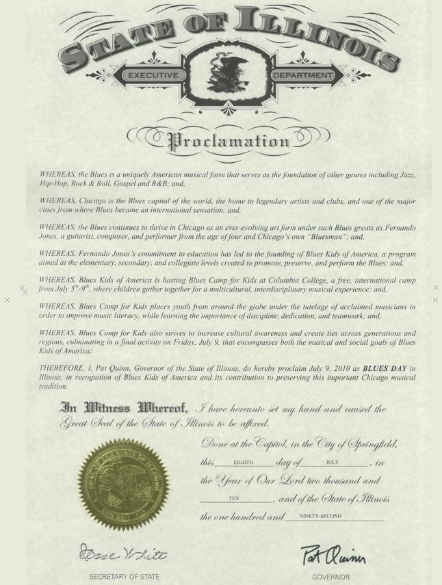State of Illinois Proclamation: BluesKids.com