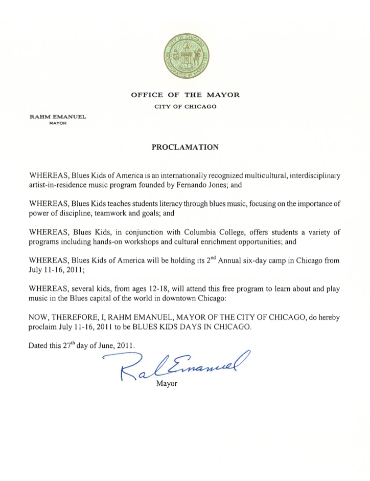 City of Chicago Proclamation: BluesKids.com