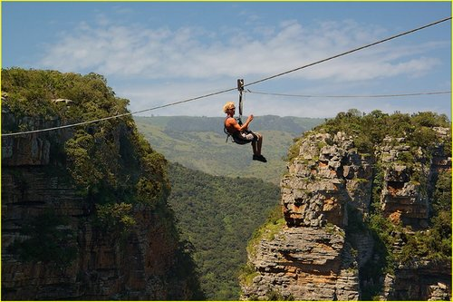 Zip lining in Oribi Gorge