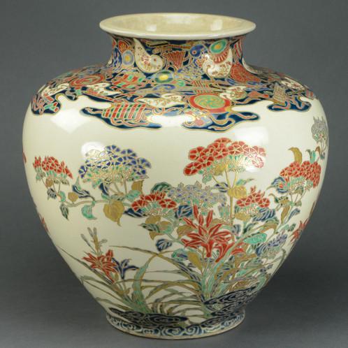 Japanese Large Satsuma Porcelain Vase