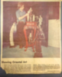 Newspaper Photo from 1972 Showing Mark Walberg with Antiques