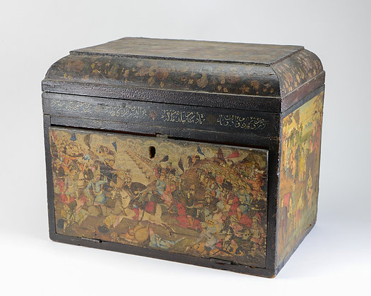 Persian Qajar Lacquer Writing Chest, Figures in Landscape