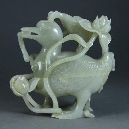 Chinese Celadon Jade Duck & Lotus Box