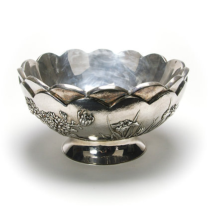 Japanese Silver Scalloped Bowl, Floral Design