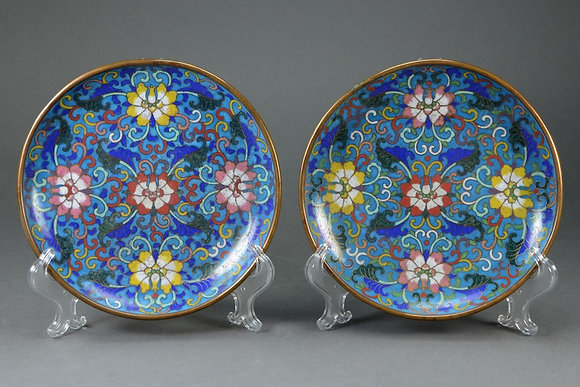Pair of Chinese Cloisonné Dishes