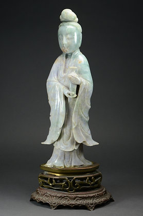 Large Chinese Jadeite Figure of Guanyin