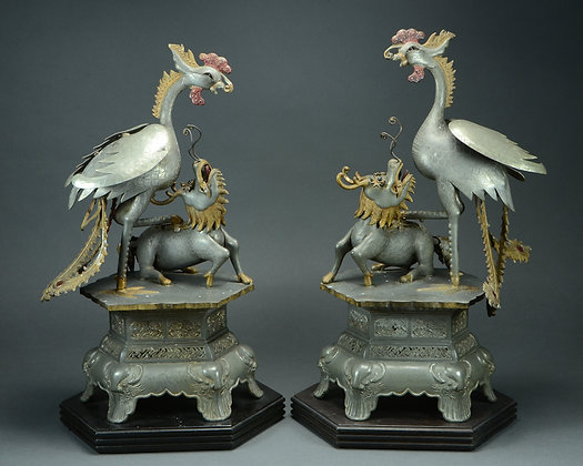 Pair Chinese Export Polychromed Pewter Phoenix & Qilin Sculptures
