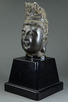 Chinese Carved Stone Head of Guanyin
