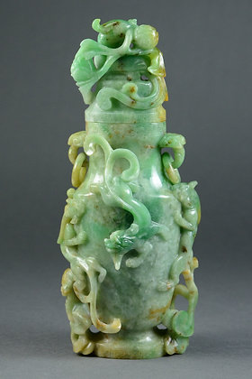 Chinese Jadeite Covered Vase, Chilongs