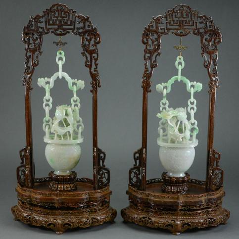 Chinese Pair of Jadeite Hanging Vases
