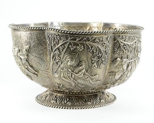 Indian Large Silver Repoussé Lobed Bowl