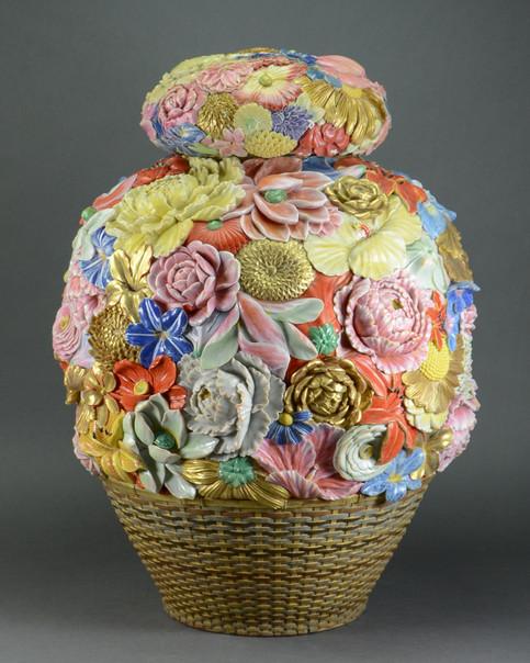 Large Japanese Porcelain Flower Basket Covered Jar