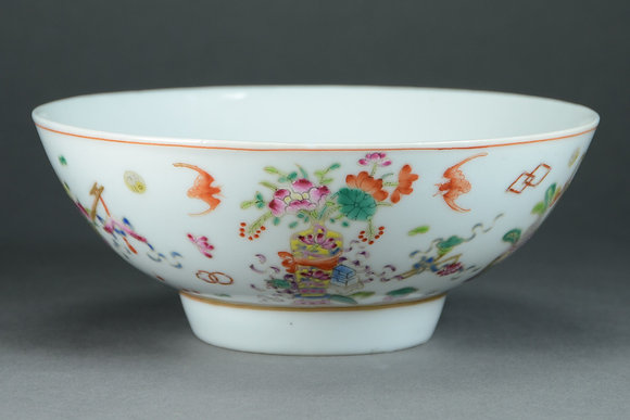 Chinese Famille Rose Porcelain Bowl, Scholar's Items