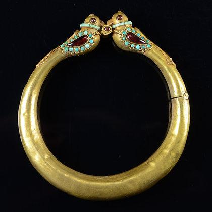 Mughal Gold Bangle Bracelet with Garnet & Turquoise Stones