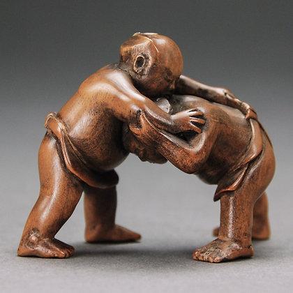 Japanese Boxwood Okimono, Sumo Wrestlers