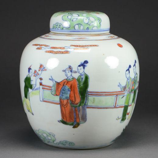 Chinese Antiques Doucai Porcelain Jar Court Scene